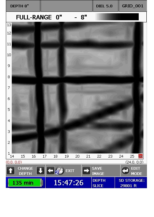 3D Image of Rebar in Concrete Slab