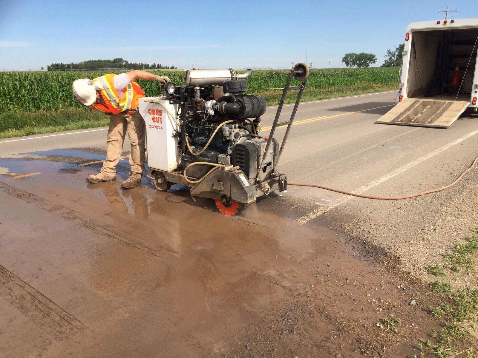 Cutting Rumble Strips on Highway